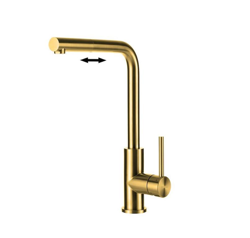 Lorreine Tweed Gold Eenhendel Keukenmengkraan Met Uittrekbare Handdouche Goud
